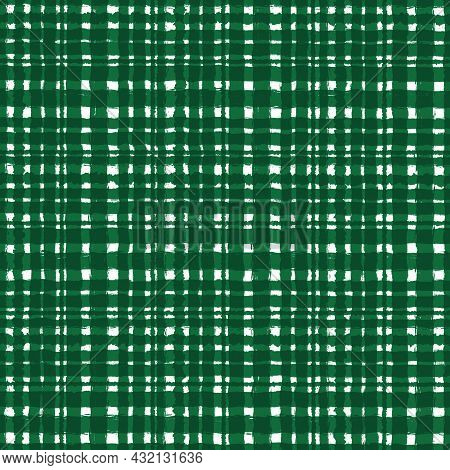 Bright Green Checkered Old Vintage Background With Blur, Gradient And Grunge Texture. Classic Checke