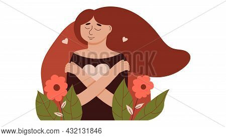 Young Woman Lovingly Hugs Herself And Her Body. Love Yourself And Overcome Personal And Psychologica