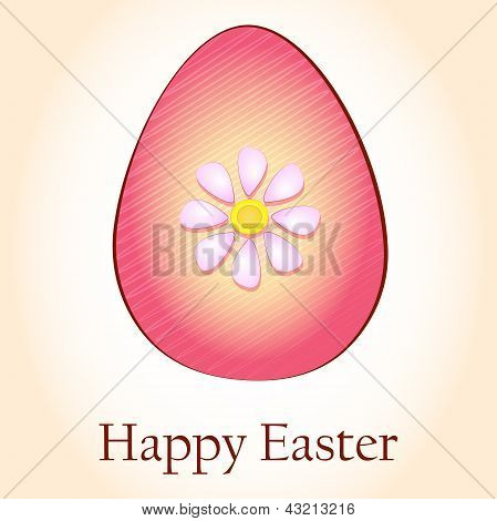 Happy Easter And Striped Rink Egg With Flower