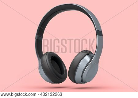 Professional Silver Gaming Headphones Isolated On Pink Background. 3d Rendering Of Over-ear Headphon