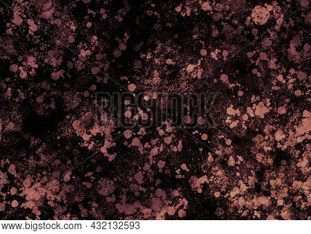 Black Beige Brown Vintage Background With Spots, Splashes And Dots. Watercolor Texture With Blur And