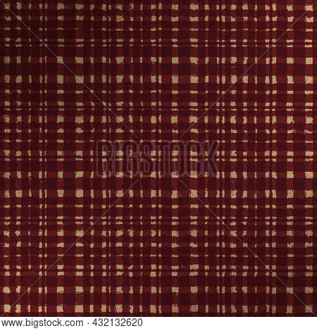 Beige Brown Checkered Old Vintage Background With Blur, Gradient And Grunge Texture. Classic Checker