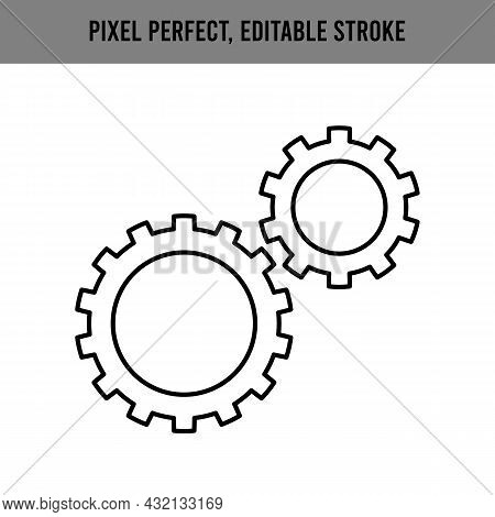 Gear Icon, Cog Wheel, Engine Circle, Thin Line Web Symbol On White Background. Settings, Linear Styl