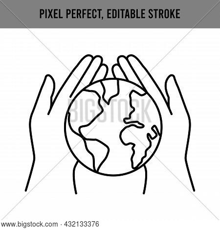 Hands Hold The Planet Earth. Concept To Rescue The Earth. Two Palms Are Holding A Globe. Save Ecolog