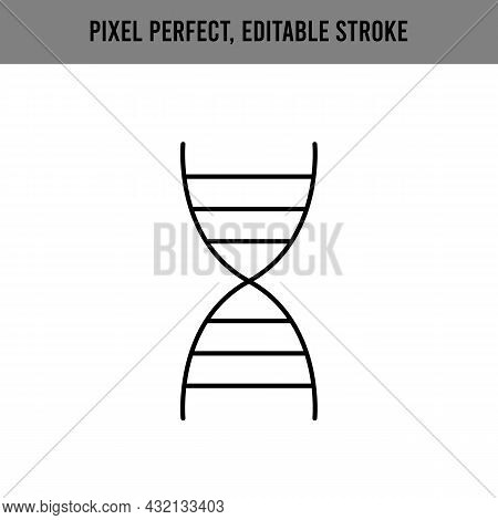 Dna For Medical Design. Information Icon Vector. Genetic, Gene. Isolated Vector. Editable Stroke