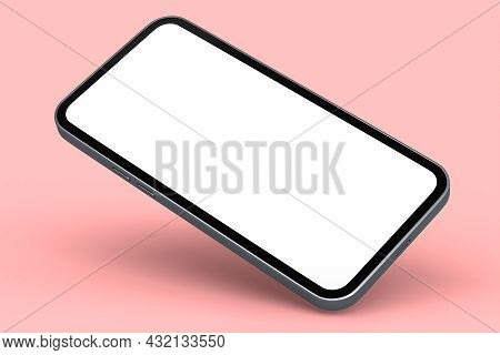 Realistic Silver Smartphone With Blank White Screen Isolated On Pink Background. 3d Rendering Of Pho