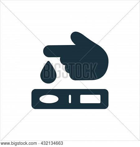 Finger Blood Test Silhouette Icon. Blood Sugar Analysis Pictogram. Research Of Level Glucose Glyph I