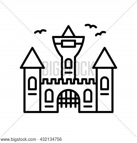 Vampire Dracula Castle Line Icon. Halloween Gothic Spooky Castle Outline Pictogram. Scary Dark Old C