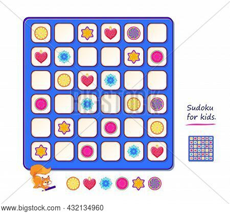 Sudoku For Kids. Page For Brain Teaser Book. Logic Puzzle Game For Children And Adults. Play Online.