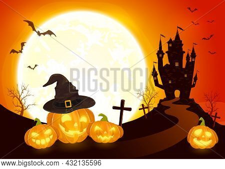 Pumpkins In Witch's Hat On Orange Moon Background With Dark Scary Castle. Holiday Card With Jack O L