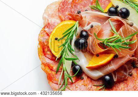 Continental Cured Pork Cold Cuts, Prosciutto, Milano Style Salami And Spanish Chorizo, Mediterranean