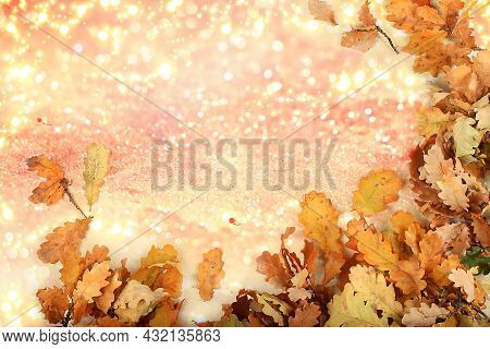 Autumn Abstract Composition With Oak Leaves On Blurred Bokeh Background, Thanksgiving Day Concept, S