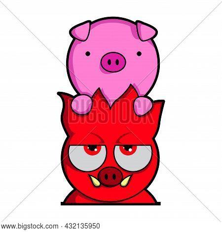Cartoon Cute Hell Pig And Pig Illustration