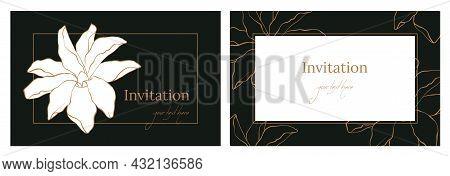 Flower Frame Card With Magnolia. Summer Floral Greeting Card. Elegant Wedding Invitation With Golden