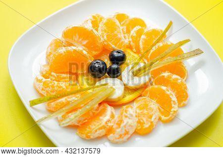 Fresh Fruit Orange, Mandarin, Banana, Grape And Pear Served In A Creative Way, Fruit Snack In The Sh