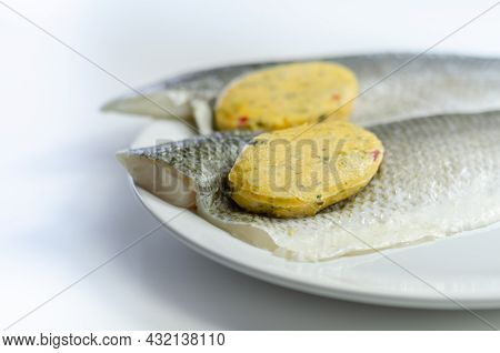 Prepared For Fry Boneless Sea Bass Fillets With A Lemon And Pepper Butter