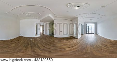 360 Seamless Hdri Panorama View In Empty Room For Office, Store Or Clinic With Panoramic Windows Wit