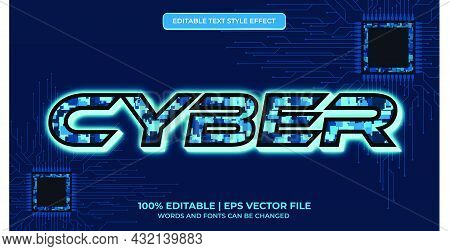 Editable Text Effect - Cyber Text Style. Futuristic Technology Text Effect