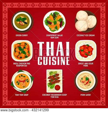 Thai Food Cuisine Menu, Thailand Dishes And Lunch Meals, Vector Restaurant Dinner Poster. Thailand T
