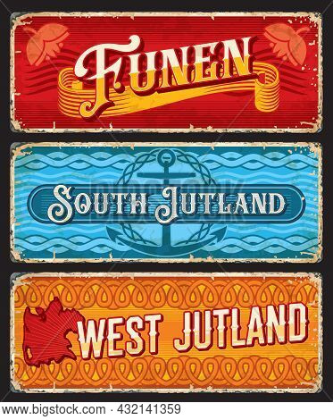 Funen, South And West Jutland Denmark Plates. Danish Peninsula And Islands Territory Vector Travel S