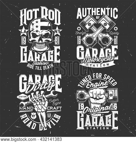Skull, Motorcycle Biker Garage And Custom Chopper Vector T-shirt Prints. Skull In American Flag Helm