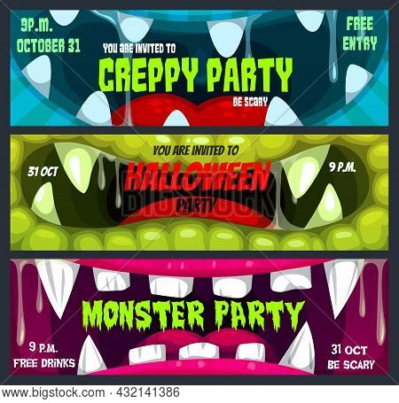 Halloween Horror Night Party Vector Banners With Cartoon Screaming Monster Mouths. Trick Or Treat Zo