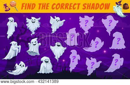 Halloween Kids Maze, Find The Correct Ghost Shadow Vector Match Game. Cartoon Spooky Phantom Charact