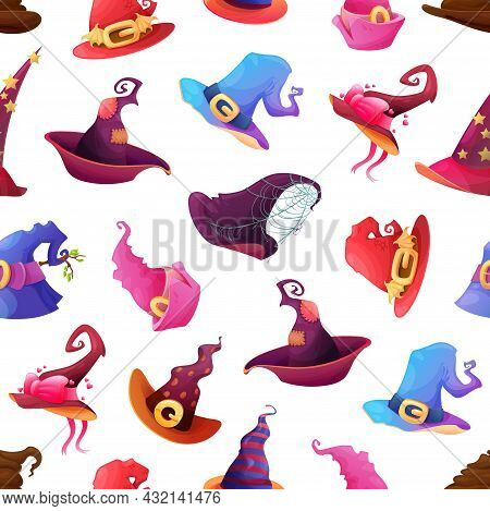 Halloween Holiday Seamless Pattern With Witch Or Sorcerer Fairytale Hats. Wizard, Warlock Or Witch H