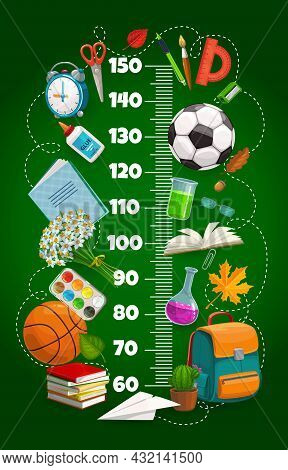 Kids Height Chart Ruler, Growth Meter With Schoolbag, Book, Sport Balls And Education Stationery. Ve