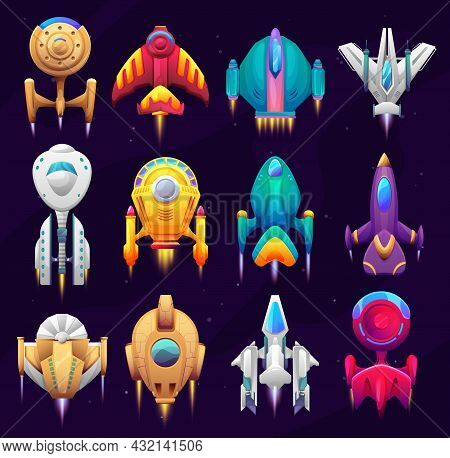 Cartoon Galaxy Space Starships, Game Asset. Vector Spacecraft Rockets, Space Craft Ships, Fantasy Ve