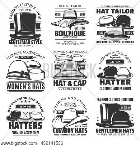 Hatter, Hat Tailor And Cowboy Hat Icons, Headwear Shop Or Hatmaking Millinery Salon Vector Emblems.