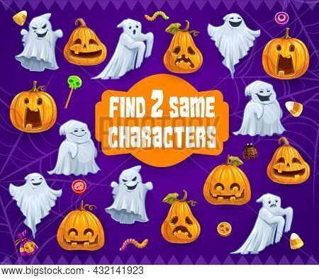 Halloween Kids Riddle Game Find Two Same Ghosts And Pumpkins Vector Maze With Cute Monsters. Cartoon