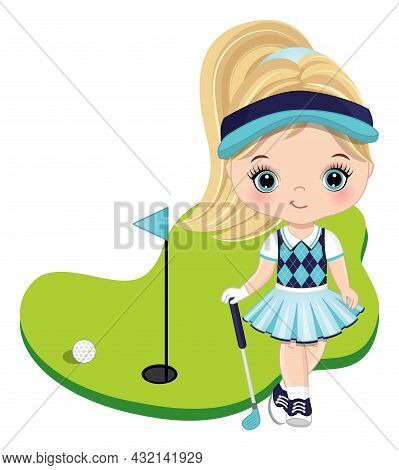 Cute Little Girl Wearing Turquoise, Navy And White Sport Outfit Playing Golf. Little Girl Is Blond W