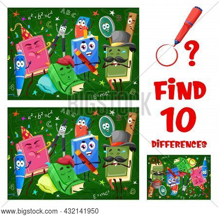 Find Differences Game Worksheet With Funny School Books, Pen And Ruler, Textbooks And Stationery Car