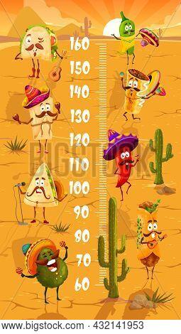 Kids Height Chart With Cartoon Mexican Avocado, Enchilada And Quesadilla, Tacos And Burrito, Churros