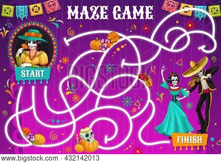Labyrinth Maze Riddle. Dia De Los Muertos Holiday Characters. Kids Pathfinder Vector Puzzle Game Wit