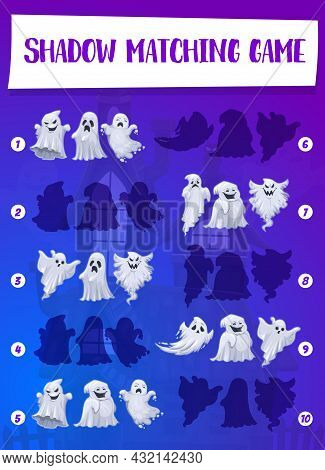 Halloween Game Of Ghost Shadow Matching Vector Template Of Children Education. Kids Puzzle With Task