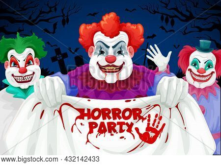 Halloween Horror Party Vector Invitation With Scary Clown Characters. Spooky Clown Or Joker Circus M