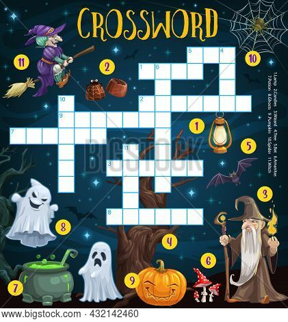 Happy Halloween Crossword Grid Puzzle With Cartoon Sorcerer, Witch And Pumpkin. Word Puzzle Game, Ki