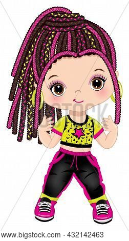 Cute Little Girl Wearing Black Joggers And Yellow T-shirt Dancing Hip Hop. The Girl Is Dark-haired W