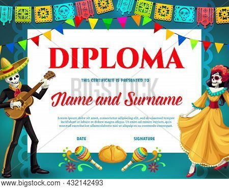 Dia De Los Muertos Holiday Diploma. Mexican Day Of Dead Celebration Diploma Or Certificate Template