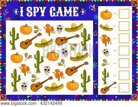 I Spy Game. Dia De Los Muertos Holiday Symbols. Kids Riddle With Counting And Finding Same Objects T