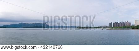 Ma On Shan Promenade Panorama: Mountain, High-rise Building, Pier And The Sea