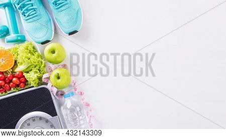 Healthy Lifestyle, Food And Sport Concept. Top View Of Sport Shoes, Weight Scale Measuring Tape, Blu