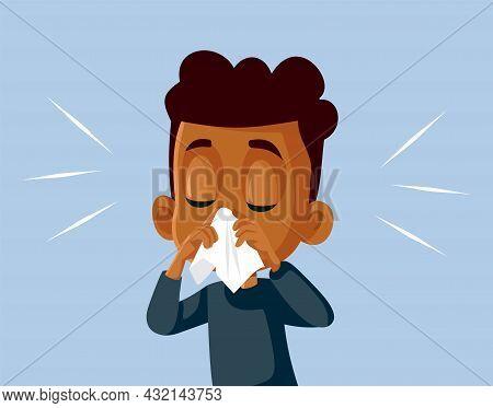 Boy With Runny Nose Feeling Unwell Vector Cartoon