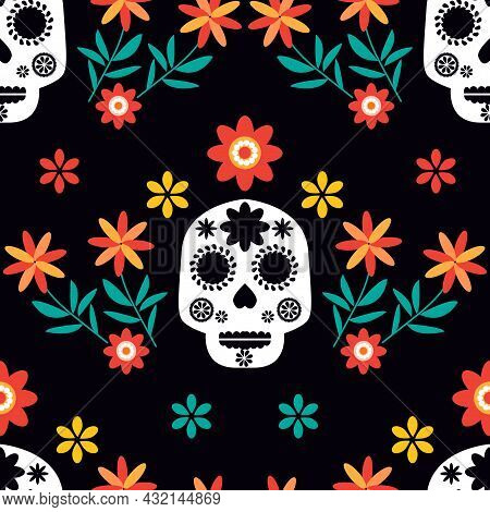 Mexican Seamless Pattern - Sugar Skulls And Colorful Flowers  Dia De Los Muertos, Day Of The Dead .
