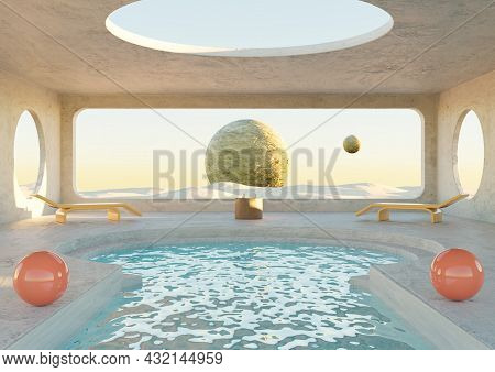 Minimalist Concrete Room With Swimming Pool On Desert Planet. Futuristic Architecture. 3d Rendering