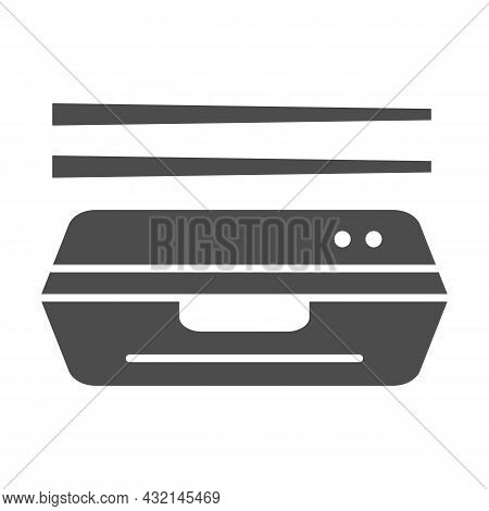 Bento Solid Icon, Asian Food Concept, Japanese Lunchbox With Chopsticks Vector Sign On White Backgro