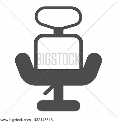 Office Hydraulic Chair With Headrest Solid Icon, Furniture Concept, Revolving Armchair Vector Sign O
