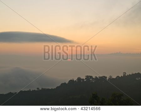Sun Rise From  Chaeng Hill, Chiang Rai Thailand